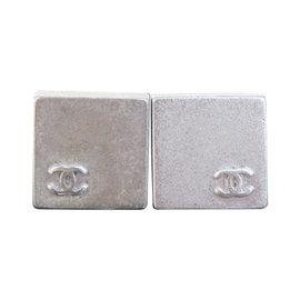 Chanel Vintage CC Logo Silver Tone Hardware Earrings
