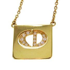Vintage Christian Dior 18k Yellow Gold Diamond Pendant Necklace