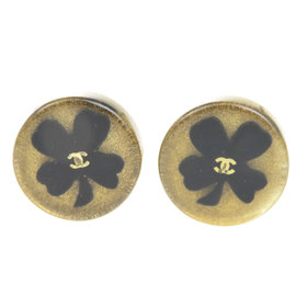 Chanel Vintage CC Gold Tone Hardware / Black Plastic Button Clip-On Earrings