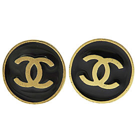 Chanel CC Logo Gold-Tone Hardware Button Clip-On Earrings