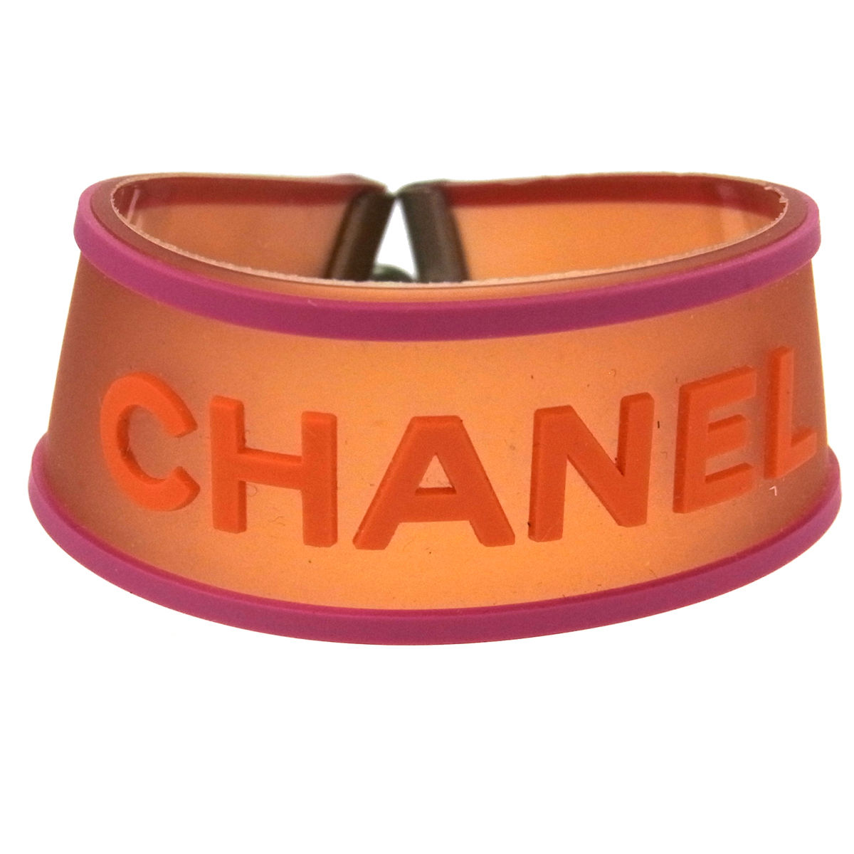 "Image of ""Chanel 01P Silver Tone Hardware Rubber Bracelet Bangle"""