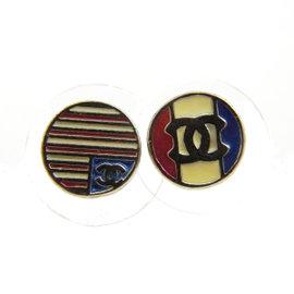 Chanel Silver Tone Hardware CC Flag Pierce Vintage Earrings