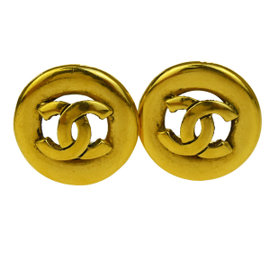 Chanel Gold Tone Hardware CC Logo Clip-On Vintage Earrings