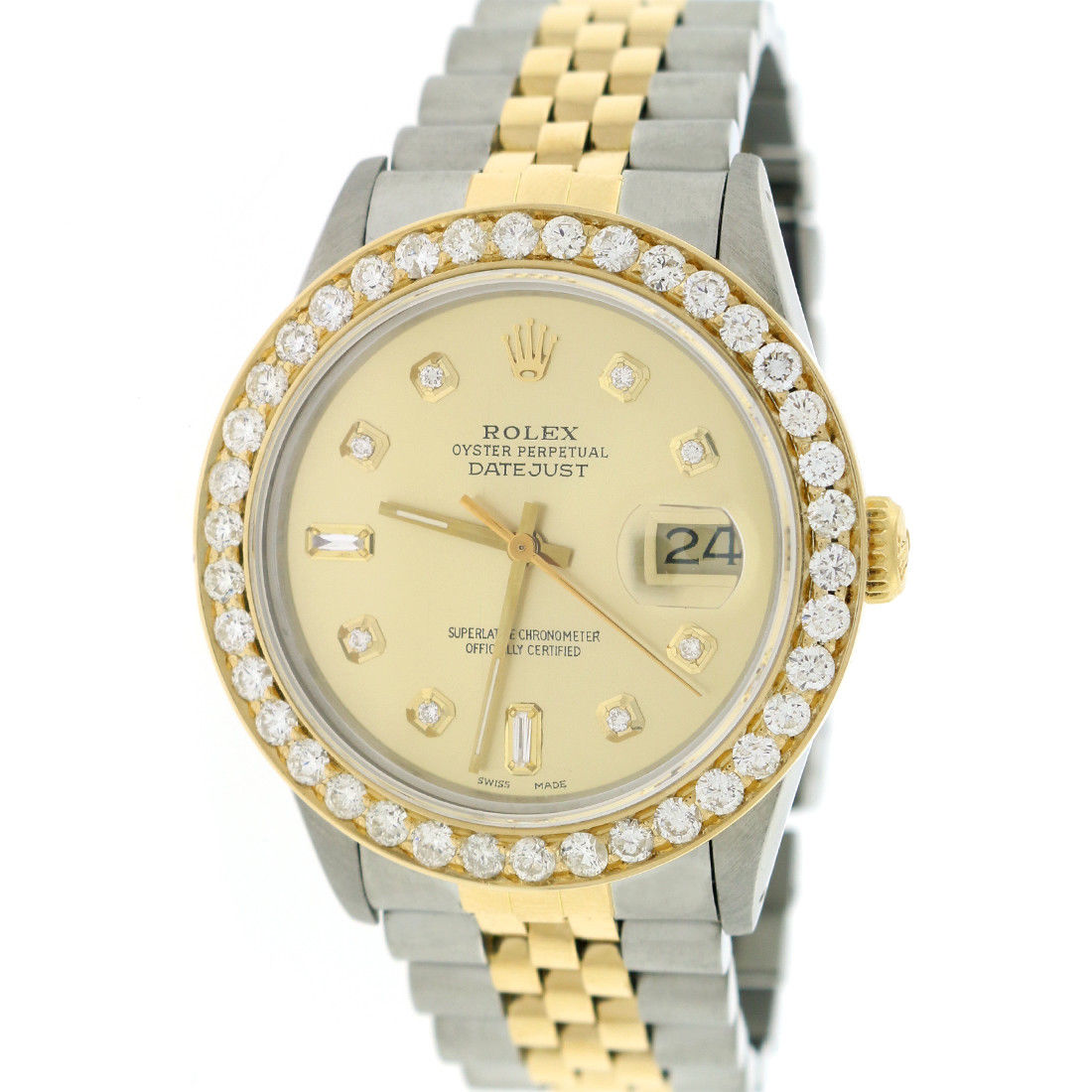 "Image of ""Rolex Datejust Yellow Gold / Stainless Steel with Custom Diamond Dial"""