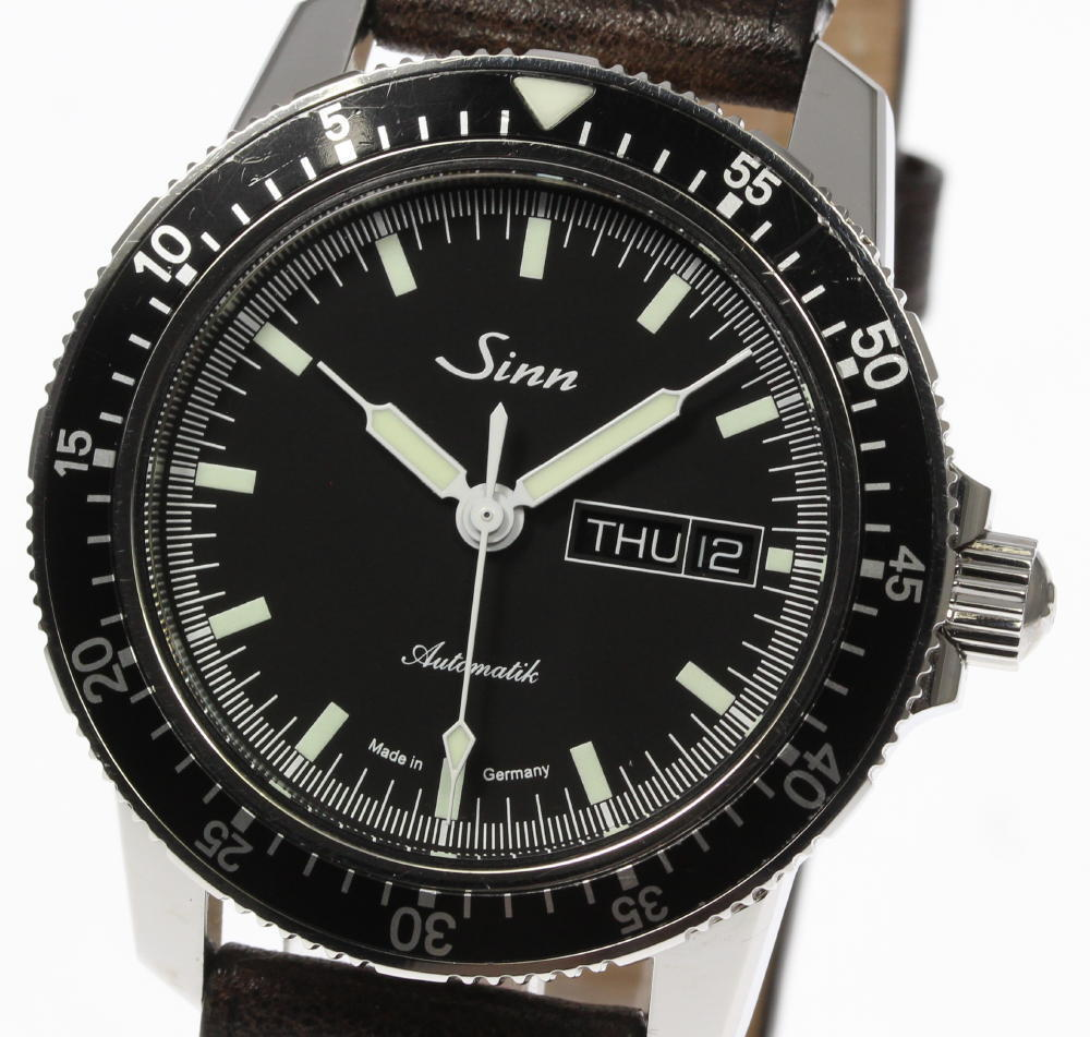 "Image of ""Sinn 104.st.sa Stainless Steel & Leather with Black Dial Automatic"""