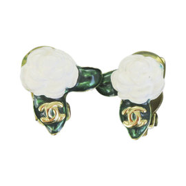 Chanel Gold Tone Hardware with CC Camellia Clip-On Vintage Earrings