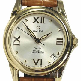 Omega Deville 46813135 18K Yellow Gold / Leather 31mm Womens Watch