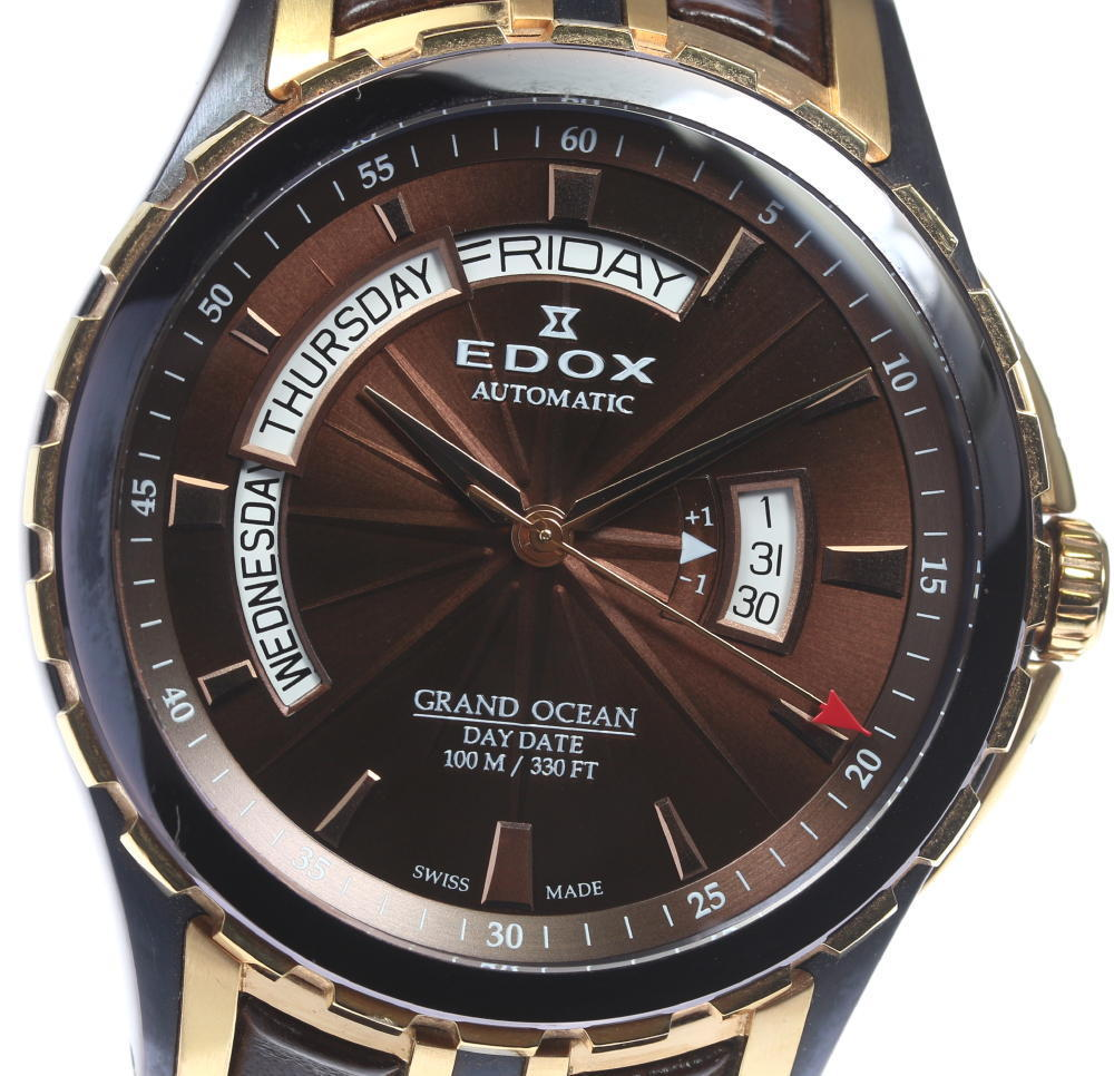 "Image of ""Edox Grand Ocean 83006 Stainless Steel / Gold Plated / Leather"""