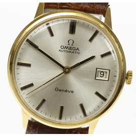 Omega Geneve 18K Yellow Gold & Leather Automatic 33mm Mens Vintage Watch