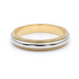 Tiffany & Co. 18K Yellow Gold And 950 Platinum Milgrain Band Ring Size 7.5