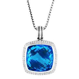 David Yurman Sterling Silver Blue Topaz Diamonds Albion Pendant