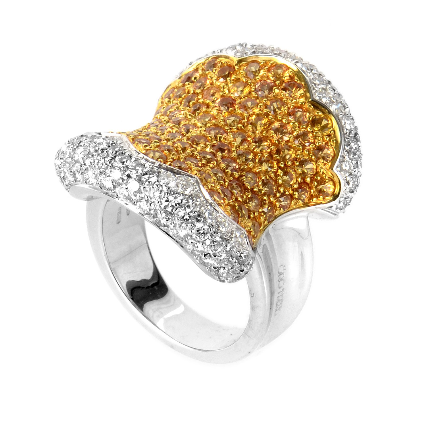 "Image of ""Oro Trend 18K White Gold Yellow Sapphire and Diamond Ring Size 7"""