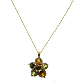 Le Vian 14K Yellow Gold Diamond Smokey Topaz & Citrine Necklace
