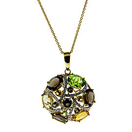 Le Vian 14K Yellow Gold Diamond Smokey Topaz Citrine & Peridot Necklace