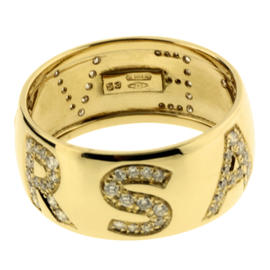 Gianni Versace 18K Yellow Gold & Diamond Logo Ring