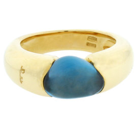 Pomellato Sassi 18K Yellow Gold Blue Topaz Ring