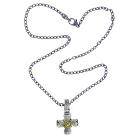 Judith Ripka Sterling Silver Diamond Cross Necklace