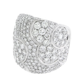 Pasquale Bruni 18K White Gold Large Pave Diamond Flower Ring