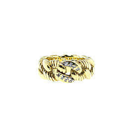 David Yurman 18K Yellow Gold Diamond Chain Ring