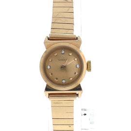Omega Elegant Ladies Vintage 18K Rose Yellow Gold Diamond Index Dial Watch