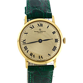 Baume & Mercier 14K Yellow Gold Green Crocodile Roman 29mm Vintage Men's Watch