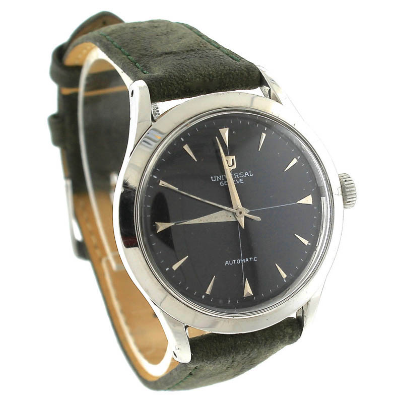 "Image of ""Universal Geneve Automatic Stainless Green Leather Black Vintage Mens"""