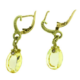 Judith Ripka Diamond & Canary Quartz 18K Yellow Gold Earrings