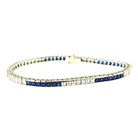 Tiffany & Co Platinum Diamond Blue Sapphire Line Bracelet