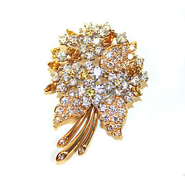 Oscar Heyman 18K & Platinum Fancy Yellow & White Diamonds Pin