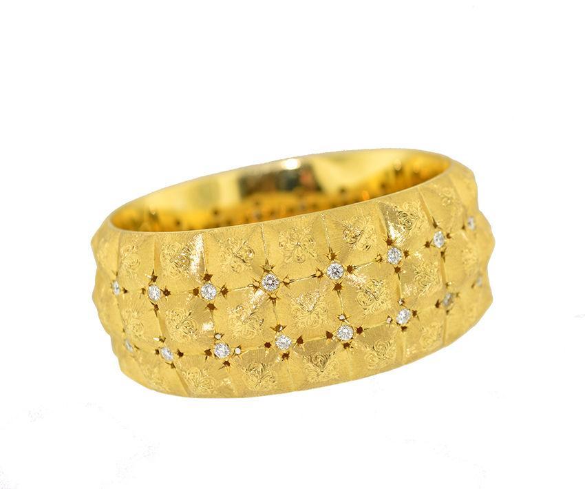 """Image of """"Buccellati 18K Yellow Gold Diamond Wide Cuff Bangle Bracelet"""""""