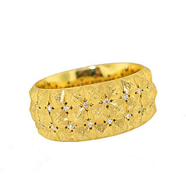 Buccellati 18K Yellow Gold Diamond Wide Cuff Bangle Bracelet