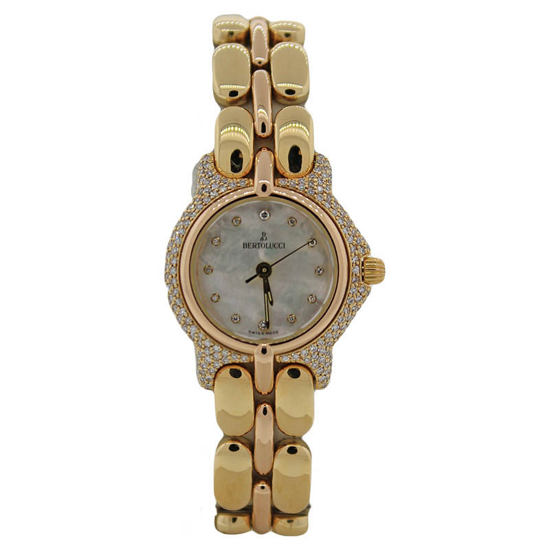 "Image of ""Bertolucci Pulchra 8055 18K Yellow Gold Mother Of Pearl Diamond Bezel"""