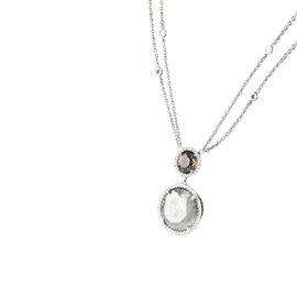 18K White Gold 11.46ct. Diamond Solitaire Pendant Necklace