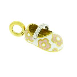 Aaron Basha 18K Yellow Gold Pink Flower Diamond Strap Shoe Pendant