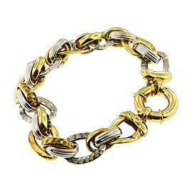 14K 2 Tone Knotted Link Bracelet