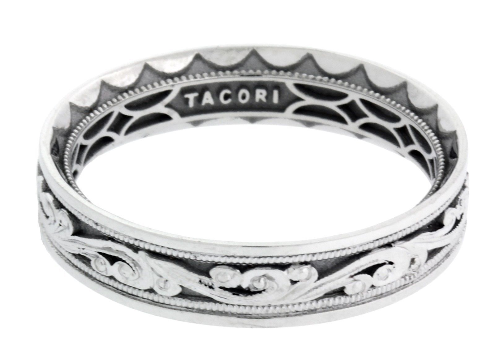 "Image of ""Tacori 18K White Gold Sculpted Crescent Wedding Band"""