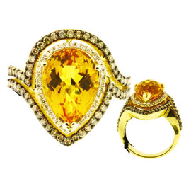 Levian 14K Yellow Gold Chocolate Diamond & Citrine Ring