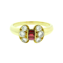 Van Cleef & Arpels 18K Yellow Gold Ruby & Diamond Ring
