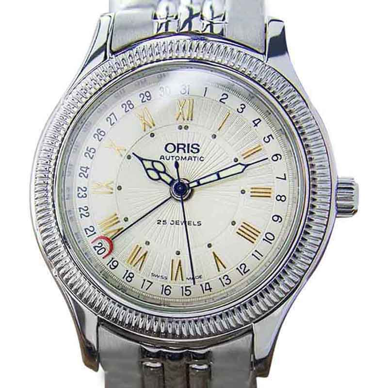 """Image of """"Oris Date Pointer 7465 B Stainless Steel Automatic Dress Men 1990s"""""""