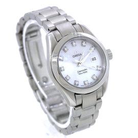 Omega Seamaster Aqua Terra MOP Diamond Stainless Quartz Date Watch