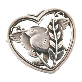 Georg Jensen 925 Sterling Silver Dove Olive Pin Branch