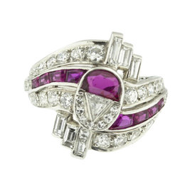 Tiffany & Co. Art Deco Brilliant Diamond And Ruby Platinum Ring
