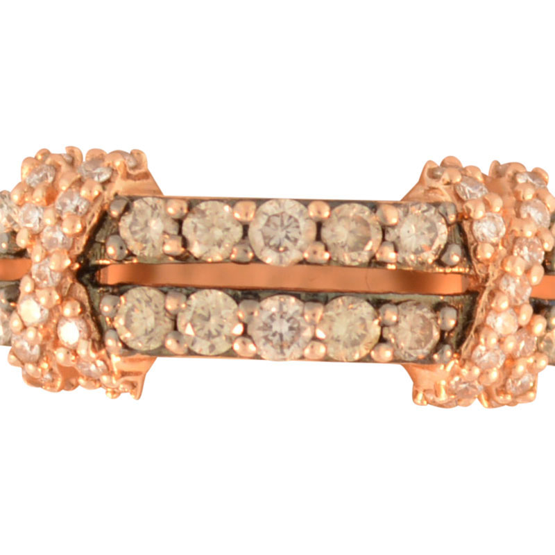 "Image of ""LeVian 14K Rose Gold Chocolate & White Diamond Crossover Band Ring"""