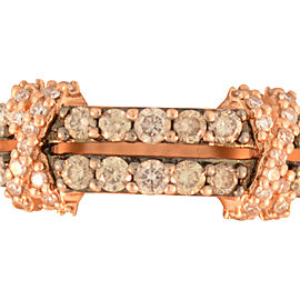 LeVian 14K Rose Gold Chocolate & White Diamond Crossover Band Ring
