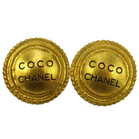 Chanel CC Logos Gold Button Earrings