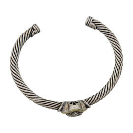 David Yurman 18K Yellow Gold Sterling Silver Quatrefoil Bangle Bracelet