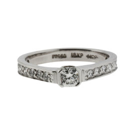 Hearts on Fire Platinum & 18k White Gold Diamond Engagement Ring Size 6.5