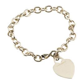 Tiffany & Co. 18k Yellow Gold Blank Heart Tag Charm Bracelet