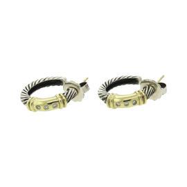 David Yurman 14K Yellow Gold 925 Sterling Silver Diamond Cable Hoop Earrings