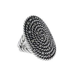 David Yurman Large Oval Diamond Sterling Silver Ring